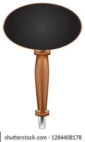 Handle for beer tap with oval top chalk board for information