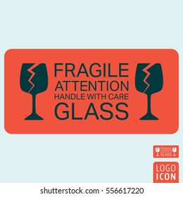 Handle with care icon. Package handling label. Glass fragile attention symbol. Vector illustration