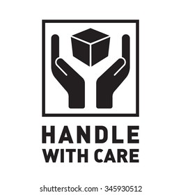 Handle with care sign in a black square. Fragile or packaging symbol.