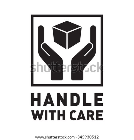 handle care sign black square fragile stock vector royalty free