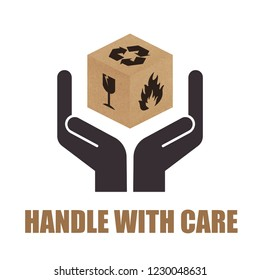 Handle with Care vector packaging symbols on cardboard box. Vector EPS 10
