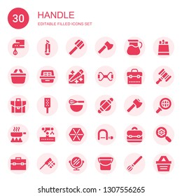 handle icon set. Collection of 30 filled handle icons included Beater, Cutter, Shovel, Ax, Pot, Shopping basket, Litter box, Saw, Chest expander, Briefcase, Grater, Roller, Axe