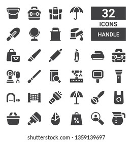 handle icon set. Collection of 32 filled handle icons included Coffee pot, Loupe, Shopping bag, Hand axe, Brush, Shopping basket, Bag, Ladle, Umbrella, Flashlight, Net, Hacksaw