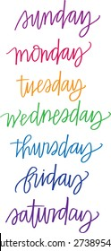 Hand-lettered Days of the Week