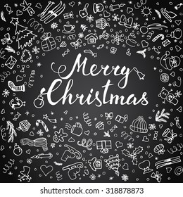 Hand-lettering Merry Christmas with  hand drawn Christmas decoration on  black background