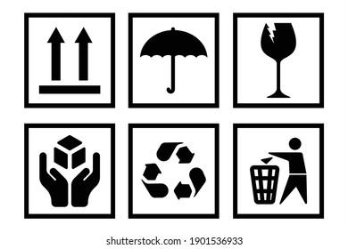 Handling packing icon set fragile