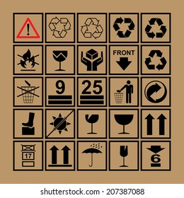 Handling & packing icon set including  fragile, recycle and caution signs etc. - can be used on the box or packaging