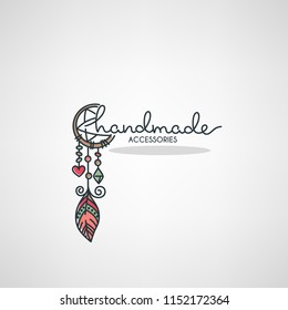 Handmade Accessories, hand drawn doodle logo, label, emblem for your shop or business
