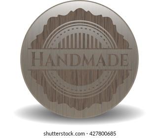 Handmade badge with wood background
