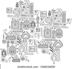 Handmade carpet Tribal pattern with Indian symbols. Hand-drawn indian background.