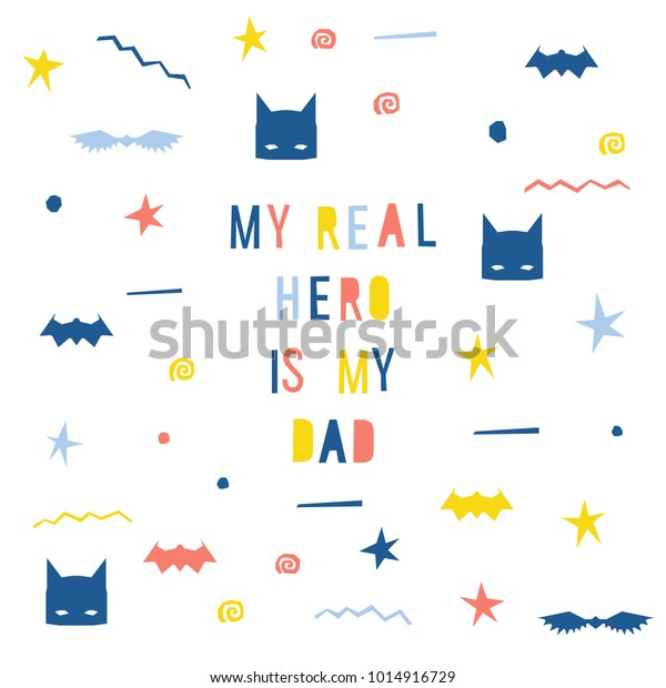 Handmade Childish Card Template Abstract Application Stock