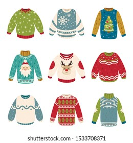 Handmade Christmas sweaters vector color illustrations collection. Festive Xmas and New Year jumpers design elements bundle. Winter holiday season pullovers isolated on white background