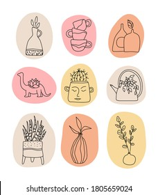 Handmade Clay Pottery Logos collection. Artisan Creative Craft Sign Concept in line art style. Handmade ceramics vector graphic elements. Decorative labels for pottery workshop, floral shop.
