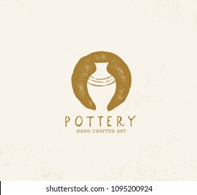 Handmade Clay Pottery Workshop. Artisanal Creative Craft Sign Concept. Organic Illustration On Textured Background.