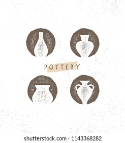 Handmade Clay Pottery Workshop. Artisanal Creative Craft Sign Concept. Organic Illustration On Textured Rough Background.