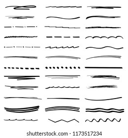 Handmade Collection Set of Underline Strokes in Marker Brush Doodle Style and Various Shapes