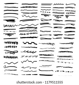 Handmade Collection Set of Underline Strokes in Marker Brush Doodle Style Various Shapes That Can be Used in many ways
