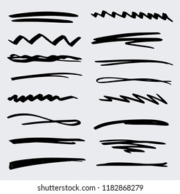 Handmade Collection Set of Underline Strokes in Marker Brush Doodle Style Various Shapes in Lines and Dots
