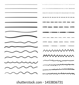 Handmade collection set of underline strokes in marker brush doodle style. Various Shapes. Vector graphic design.