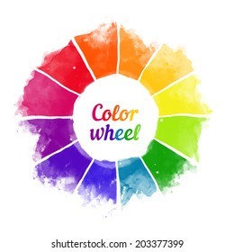 Handmade color wheel. Isolated watercolor spectrum. Raster illustration.