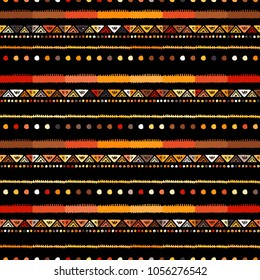 Handmade colored stripes bright tribal seamless pattern look like carpet. Boarder pattern. Tribal pattern with American Indian symbols. Hand-drawn indian background. Native american tent pattern