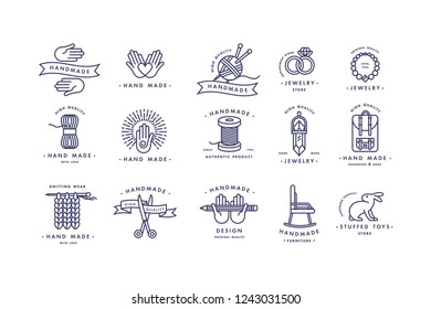Handmade colorful line logos set. Handmade linear badges or handmade outline labels. Knitwear and sewing symbols. Vector illustration
