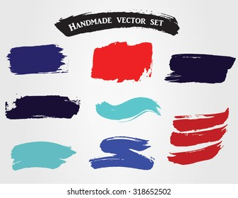 Handmade colorful red and blue grunge vector set of ink splotches