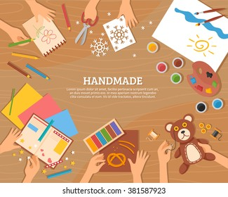 Handmade concept in flat style with children drawings plasticine color paper watercolor and skillful hands vector illustration