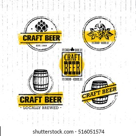 Handmade Craft Beer Rough Stamps Set. Drink Local Creative Vector Concept. Brewery Design Elements On Grunge Distressed Background