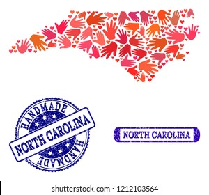 Handmade craft combination of mosaic map of North Carolina State and dirty seals. Mosaic map of North Carolina State designed with red hands. Vector blue seals with retro rubber texture.