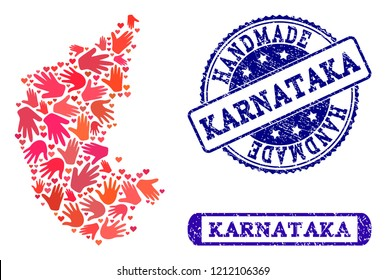 Handmade craft combination of mosaic map of Karnataka State and corroded seal stamps. Mosaic map of Karnataka State constructed with red hands. Vector blue watermarks with corroded rubber texture.