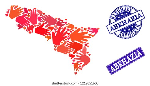 Handmade craft combination of mosaic map of Abkhazia and rubber seals. Mosaic map of Abkhazia designed with red hands. Vector blue seals with unclean rubber texture.