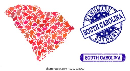 Handmade craft composition of mosaic map of South Carolina State and grunge seals. Mosaic map of South Carolina State designed with red hands. Vector blue seals with grunge rubber texture.