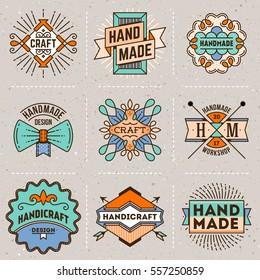 Handmade Craft Insignias Logotypes Line Art Color Set 1. Vintage Vector Elements.