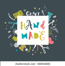 Handmade, crafts workshop, art fair and festival poster