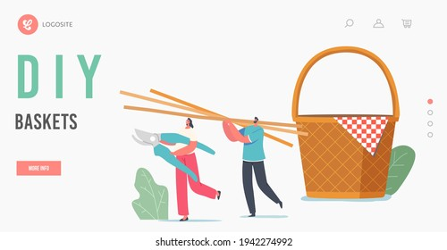 Handmade Decor of Natural Material Landing Page Template. Tiny Characters Carry Huge Straw or Bamboo Sticks for Weaving Picnic Basket. Hobby or Wickerwork Business. Cartoon People Vector Illustration