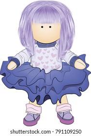 Handmade doll. vector illustration, making dolls, handmade. logo for women making handmade dolls, for children's shops.
