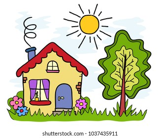the handmade drawing house country landscape summer sun