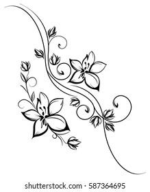 handmade floral swirls vector design
