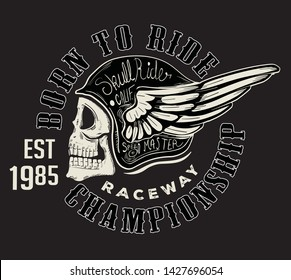 handmade font motorcycle race with skull and wings typography