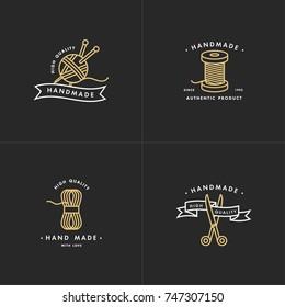 Handmade golden line logos set. Handmade linear badges or handmade outline labels. Knitwear and sewing symbols. Vector illustration