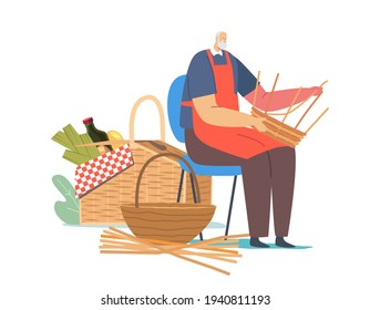 Handmade Hobby, Business. Senior Male Character Weaving Basket. Old Man Make Wicker Picnic Pannier of Natural Materials Willow, Bamboo, Dry Grass or Tree Branches. Cartoon People Vector Illustration