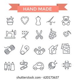 Handmade icons, thin line, flat design