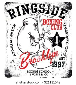 handmade illustration vector sketch athletics boxing gloves logo with wording for apparel