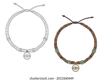 Handmade jewelry: amulet bracelet with an eye-shaped pendant. Vector illustration isolated on a white background.