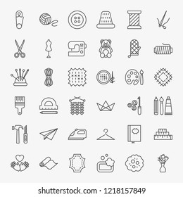 Handmade Line Icons Set. Vector Thin Outline Craft Symbols.