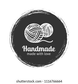 Handmade line vintage logo. Handmade retro badge or handmade outline label, vector illustration