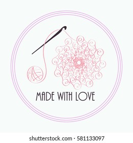 Handmade logo. Knit wool, needle and yarn, ball and knitwear and needlework design, vector illustration. Hand-drawn retro vector hand-made badge stylized icon