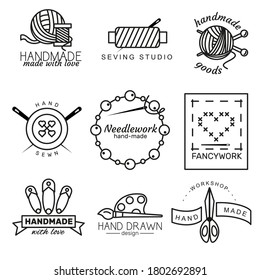 Handmade logo set with ball of thread,  needle, thread, pin, beads, button. Linear badges or handmade outline labels. Knitwear and sewing symbols. Vector illustration in line style