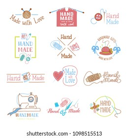 Handmade logo vector wool knitting needles or sewing handcraft hobby workshop logotype illustration set of crocheting woolly knitwear and handknitting needlework label isolated on white background